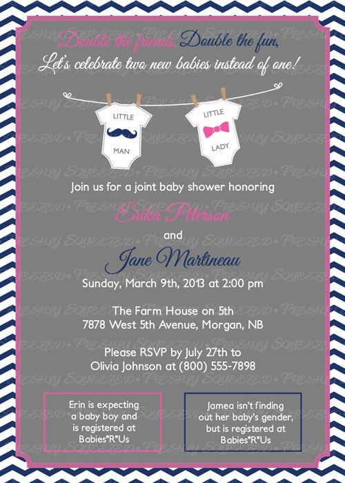 Joint Baby Shower Invitation mustache and by freshlysqueezedcards  freshlysqueezedcards.etsy.com