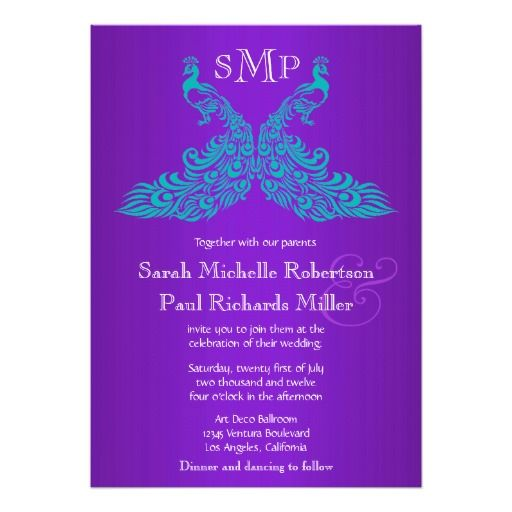 299 Best Teal And Purple Wedding Invitations Images On Pinterest