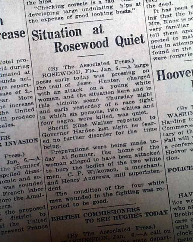 rosewood massacre | Details about ROSEWOOD MASSACRE Florida Race War 1923 Newspaper