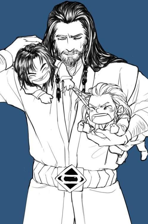"""Uncle!  Kili's pulling my hair!"""