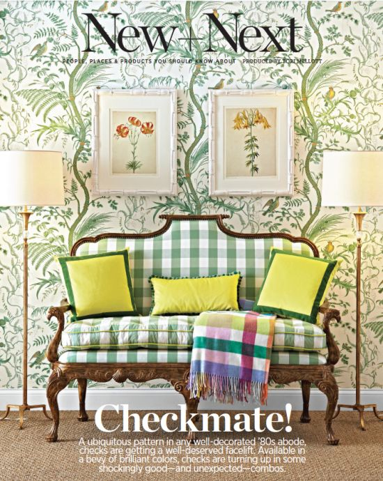 Theodore Alexander's Hand Carved Gothic Library Settee features in this month's Traditional Home magazine, upholstered in a bold green gingham.