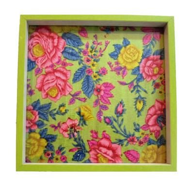 Wooden Serving Tray, Lime Green Floral Print - FOLKBRIDGE.COM | Buy Gifts. Indian Handicrafts. Home Decorations.