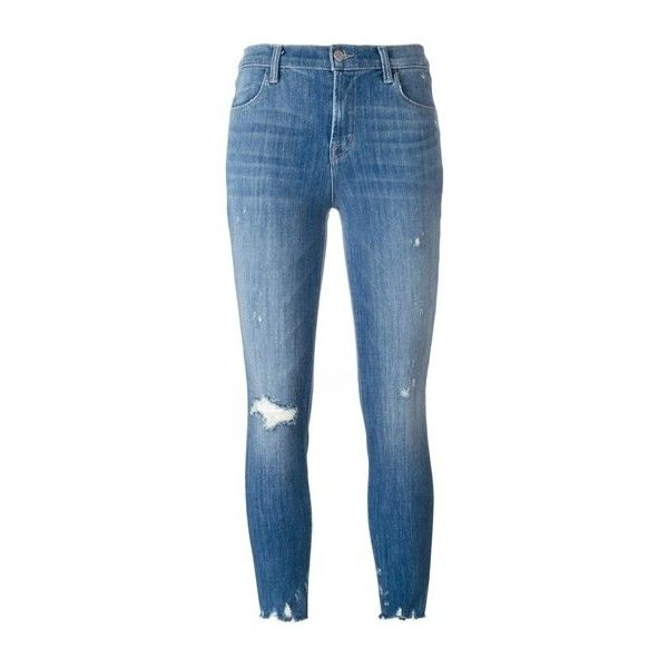 J BRAND 'Alana' Distressed Cropped Jeans (£240) ❤ liked on Polyvore featuring jeans, light blue, blue jeans, ripped blue jeans, destroyed cropped jeans, cropped jeans and destructed jeans