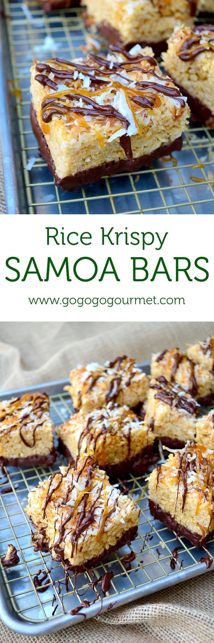 Take Rice Krispie Treats to the next level by making these chocolate-dipped, caramel-chocolate-coconut topped Samoa Rice Krispie Treats | Go Go Go Gourmet @gogogogourmet