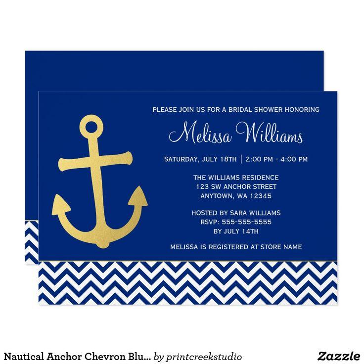 Nautical Anchor Chevron Blue Gold Bridal Shower Card