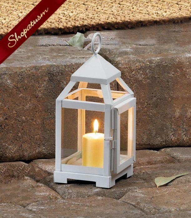 White Mini Wedding Centerpiece Contemporary Lantern Lantern Candle Centerpieces Contemporary Candles Contemporary Lanterns