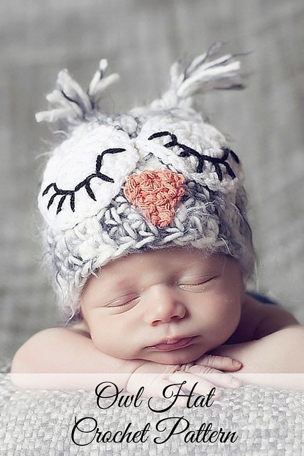 Crochet Pattern -- a cute fuzzy owl hat crochet pattern for all ages. Cute for boys and girls, and adults too! Includes all sizes. By Posh Patterns.
