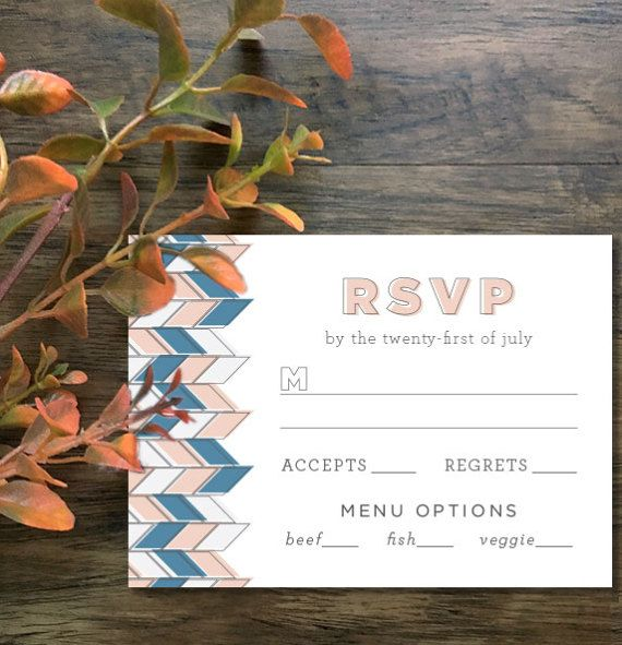 Custom Herringbone Wedding Invitation Suite by Mabe Design Co.