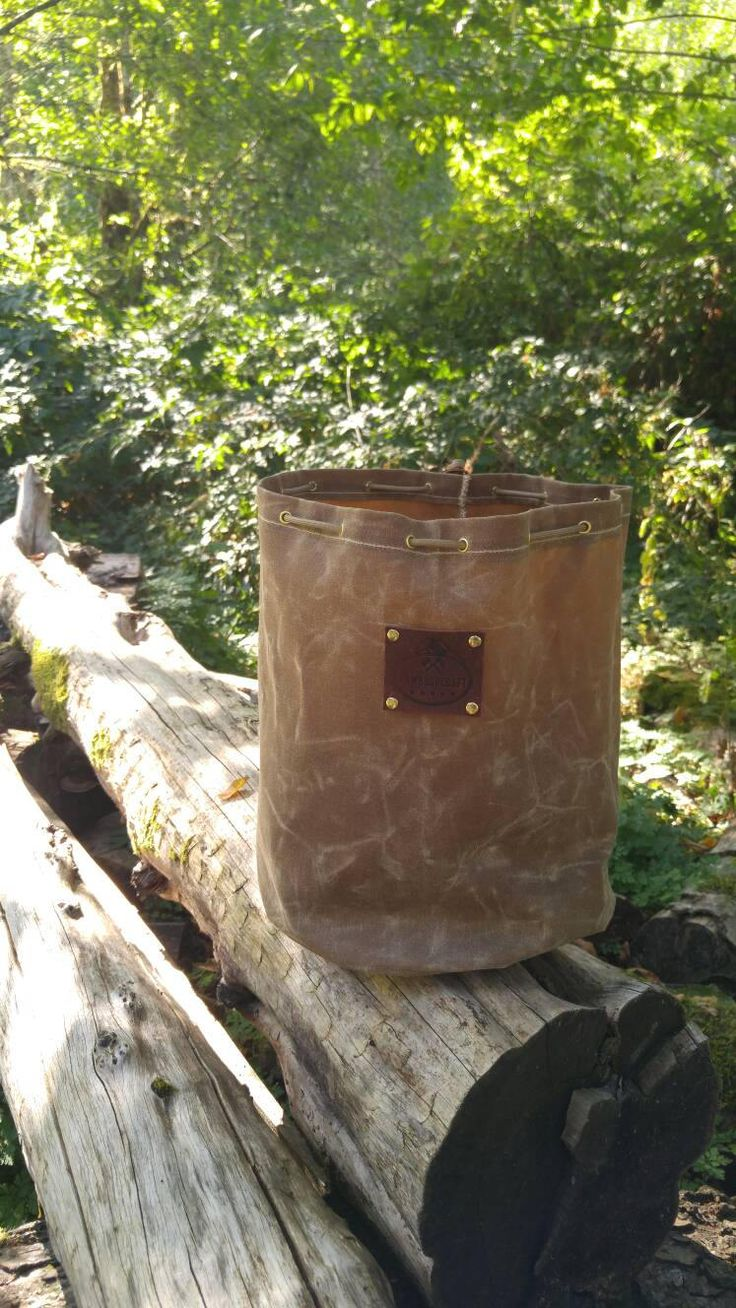 Extra Big Handmade Waxed Canvas Round Bottomed Ditty Bag with Leather Tag for Cook Set, Bushcraft, Camping and the Great Outdoors.