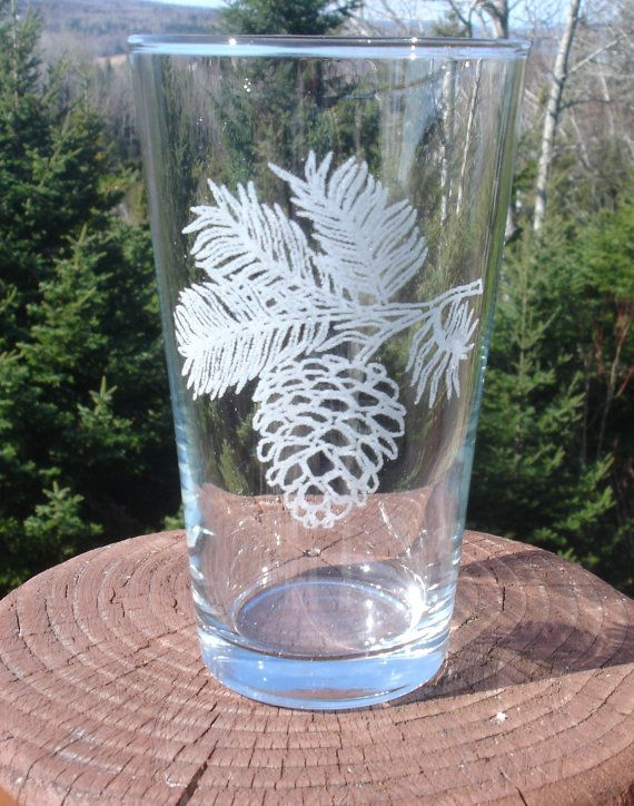Pine Cone Etched Glassware On Etsy 10 00 Etched