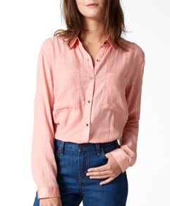Invest in a few lightweight cotton button down shirt that will instantly add sophistication to any pair of jeans.  Wear tucked or untucked.