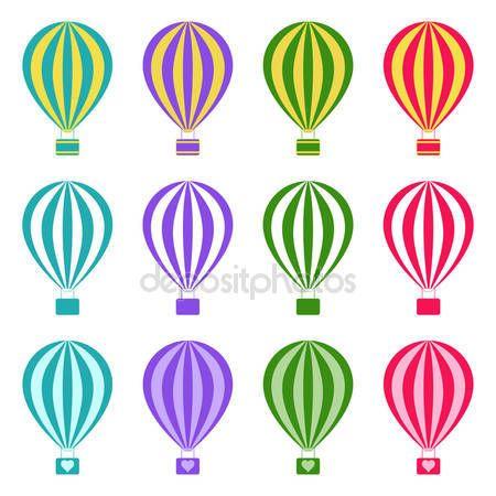 Σύνολο αερόστατα θερμού αέρα σε άσπρο φόντο, εικονογράφηση φορέας — Αρχείο Εικονογράφησης #66641875