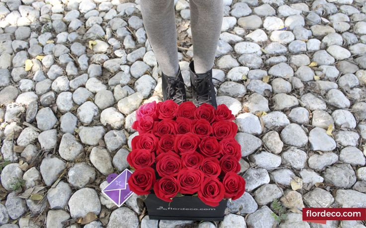 Diseño en base exclusiva de Flordeco Florerias color negro con 25 Rosas Rojas. Altura aproximada de 25 cm