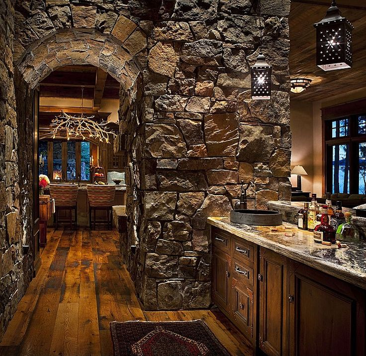 Kitchen Design Arch: The Stone Arch Gives This Rustic Bar Nook An Underground