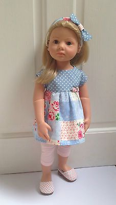 """18/20"""" doll outfit For Gotz Happy Kidz/Classic Kidz using Pixie Faire patterns (123 Mulberry Street, Liberty Jane) Hairband my design!"""