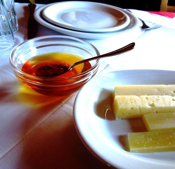 Thyme honey and graviera cheese. Cretan delicacies.