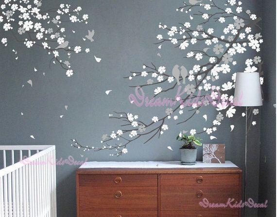 2sets branch decal wall sticker corner tree branch decal birdcage with flying birds dk011 - Design A Wall Sticker