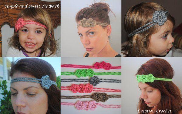 Simple and Sweet Crochet Tie Back/ Headband free pattern