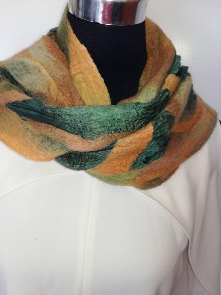 Fall handmade Merino wool felt scarf. Warm Winter Scarf.  Handmade unique scarf. Great gift. Lightweight and warm. by FeltCreativeNZ on Etsy