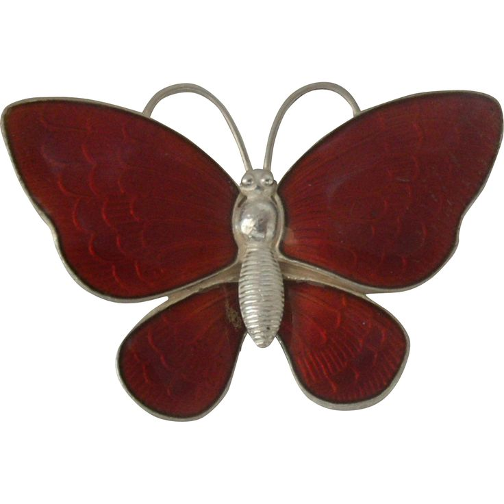 Volmer Bahner Danish Sterling Guilloche Butterfly