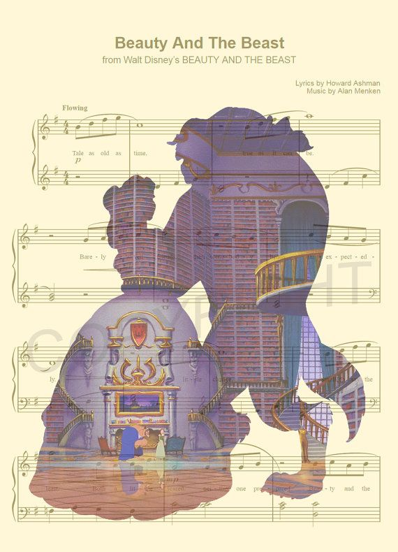 Here is a sheet music art print of Belle and the Beast from Disneys Beauty and the Beast. This is perfect for any Beauty and the Beast/Disney fanatic!  We print this on quality ivory card stock paper, which measures approximately 8.5x11, and ship it in a heavy-duty envelope to ensure it arrives intact. FRAME NOT INCLUDED.  11x17 Poster: $20.00 18x24 Poster: $30.00 24x36 Poster: $45.00  Take advantage of our Buy 2 Prints, Get 1 Free special! Simply purchase any two prints in our shop, and...