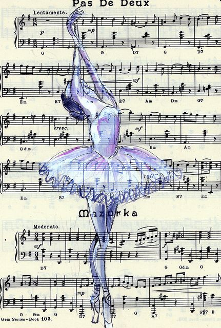 "Ballerina drawing on instrumental sheet ""pas de deux"""