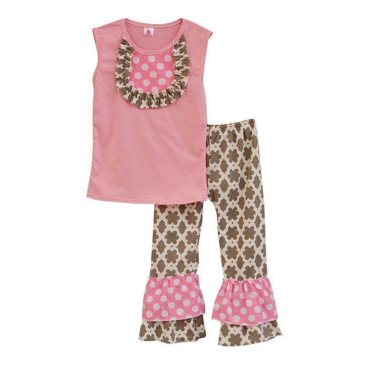 2016 новое поступление малыша девушка одежды розовый жилет груди лоскутная декор винтажный стиль рюшами брюки детская одежда ST028 дд