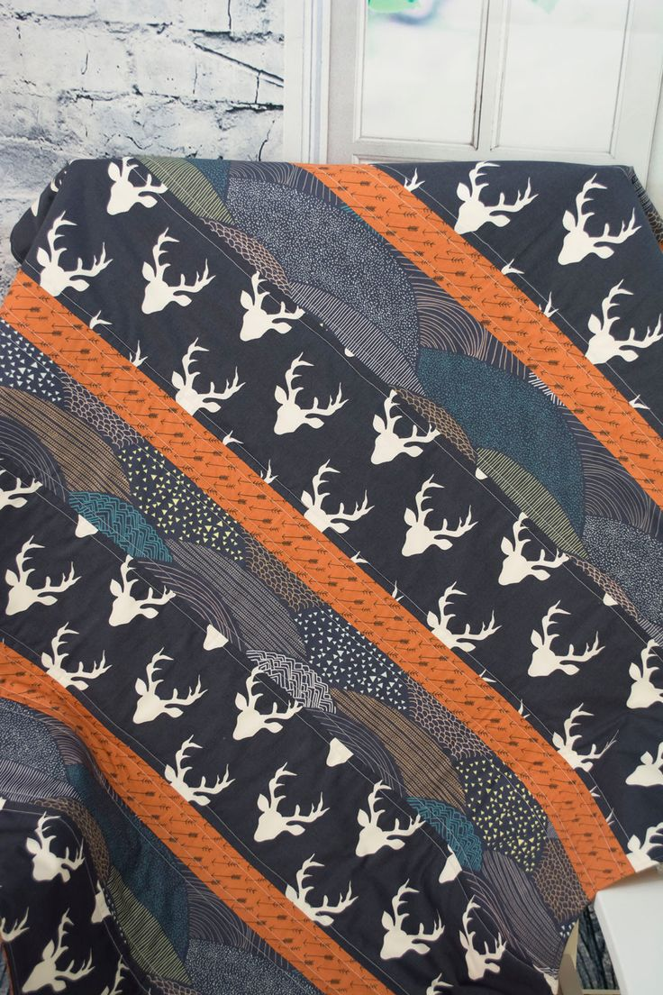 Rustic Boy Quilt, Moose Baby Quilt, Baby Tribal Quilt, Navy Moose Quilt, Brown…