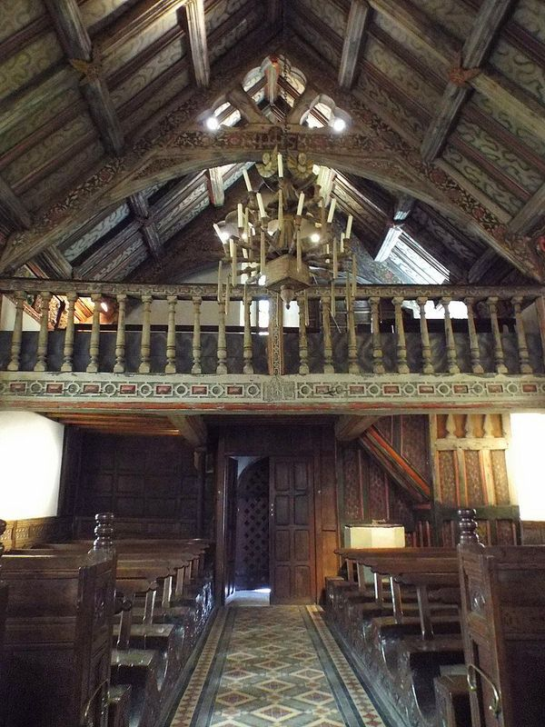 Rhug Chapel...pew bottoms are made out a single section of wood, Corwen, Wales