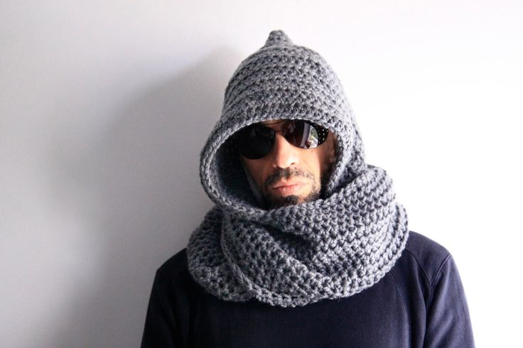 Men grey hooded infinity scarf unisex hood circle scarf, Calypso Hood, winter fashion by polixeni19 on Etsy https://www.etsy.com/listing/219529304/men-grey-hooded-infinity-scarf-unisex