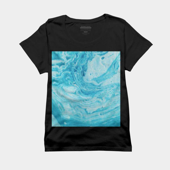Aqua Blue Watercolor Art T Shirt By Newburyboutique Design By