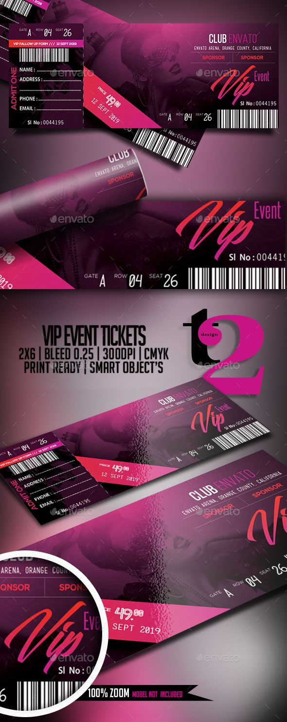 VIP #Event #Tickets Template - Clubs & Parties Events Download here: https://graphicriver.net/item/vip-event-tickets-template/20040877?ref=alena994