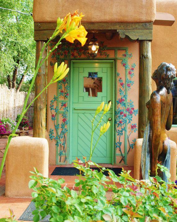 Santa Fe New Mexico Adobe Cottage Folk Art by InGloriasGarden, $20.00