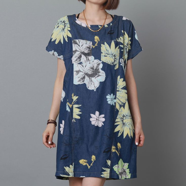 Pure cotton navy floral sundress oversize shift dress summer  maternity dress