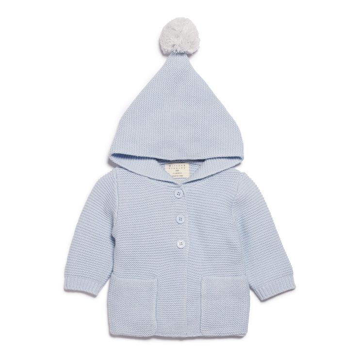 Blue knitted jacket with hood featuring a pompom and front button down opening.   #wilsonandfrenchy #babystyle #jacket #knitwear #pompom #baby #fashion #unisex #babylove #perfectbabies  #unisexbabyclothes  #newmum #babygift #babyshower #australiandesign #shopbaby #mumsunite #babylove #magicofchildhood #little