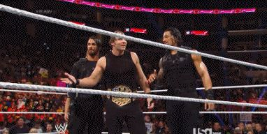 The Shield's reaction to Dean Ambrose's opponent being Mark Henry. [Gif]