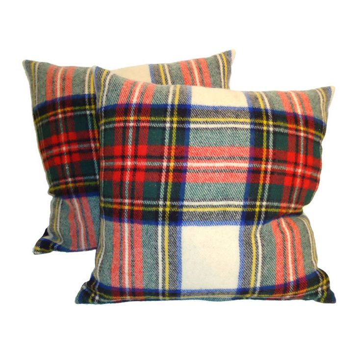 1930 S Wool Scottish Plaid Blanket Pillows W Black Linen
