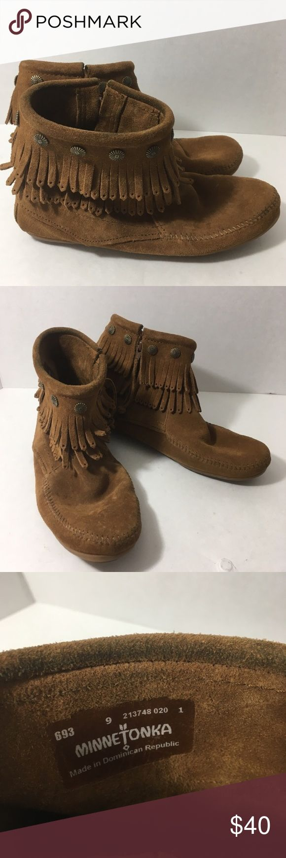 Minnetonka Fringe Booties Suede boots with fringe and southeweater cabochon hardware. Light spot on heel bitnotherwose excellent condition. Textured rubber sole—ultra comfortable and cute! Minnetonka Shoes Ankle Boots & Booties