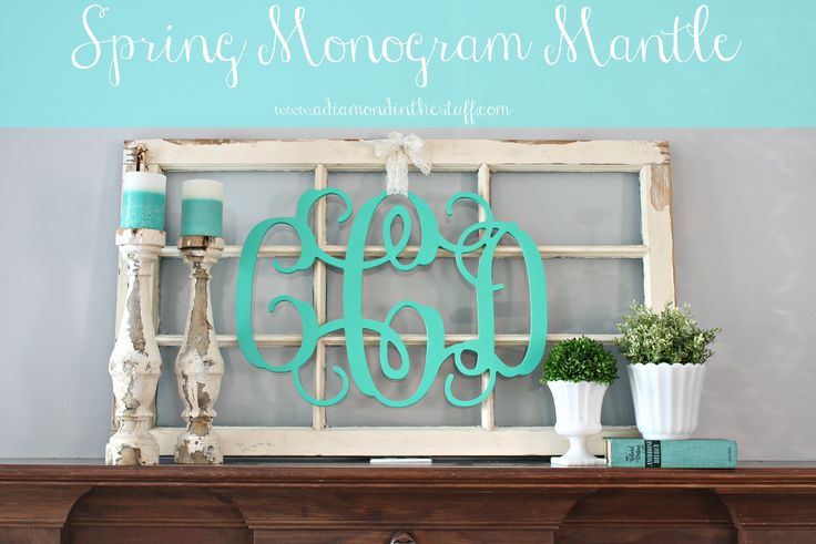 Spring Monogram Mantle | A Diamond in the Stuff.  I'm really lovin' the rustic candlestick holders.