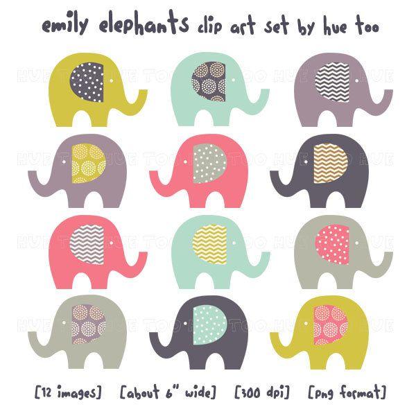 clip art elephants, elephant clipart, chevron zig zag spots, cute images for invitations, aqua pink mustard navy purple baby shower - 028. $7.00, via Etsy.