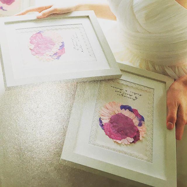 両親へのプレゼントは会場のお花を押し花にした物プレゼント #プレ花嫁 #ウェディング #押し花ブーケ