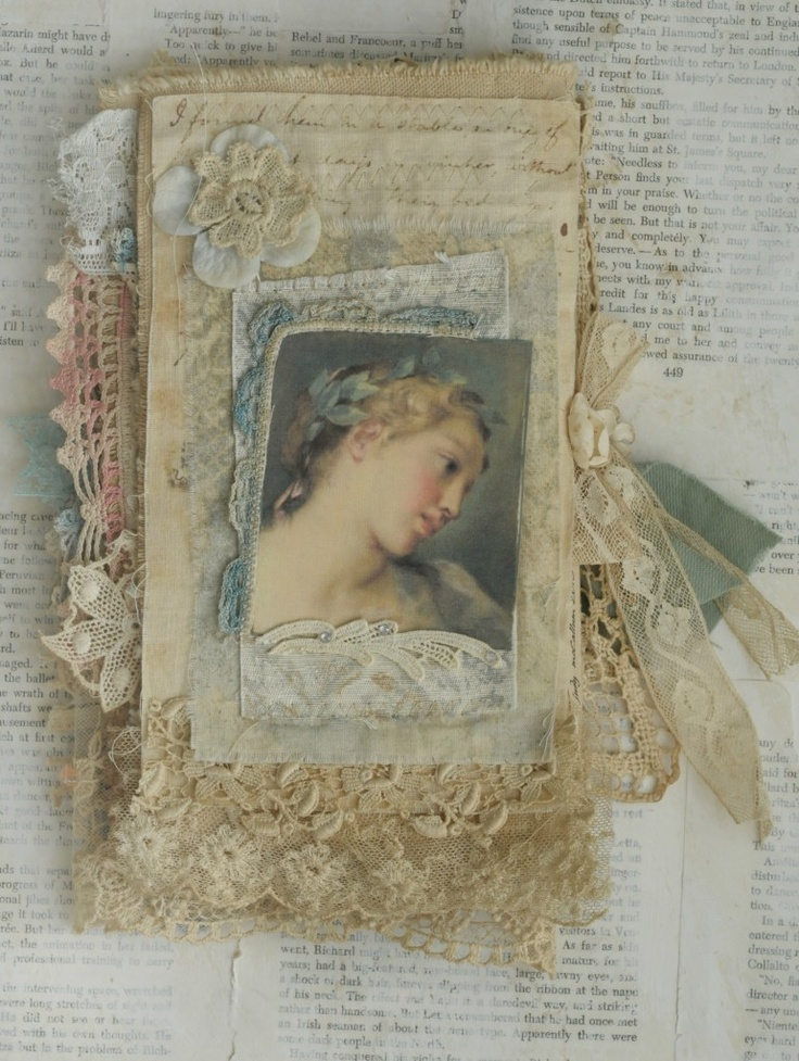 Mixed Media Fabric Collage Book of Old Lace and Roses | eBay