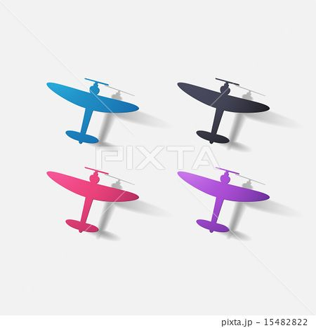 Paper clipped sticker: aircraft plane with propeller