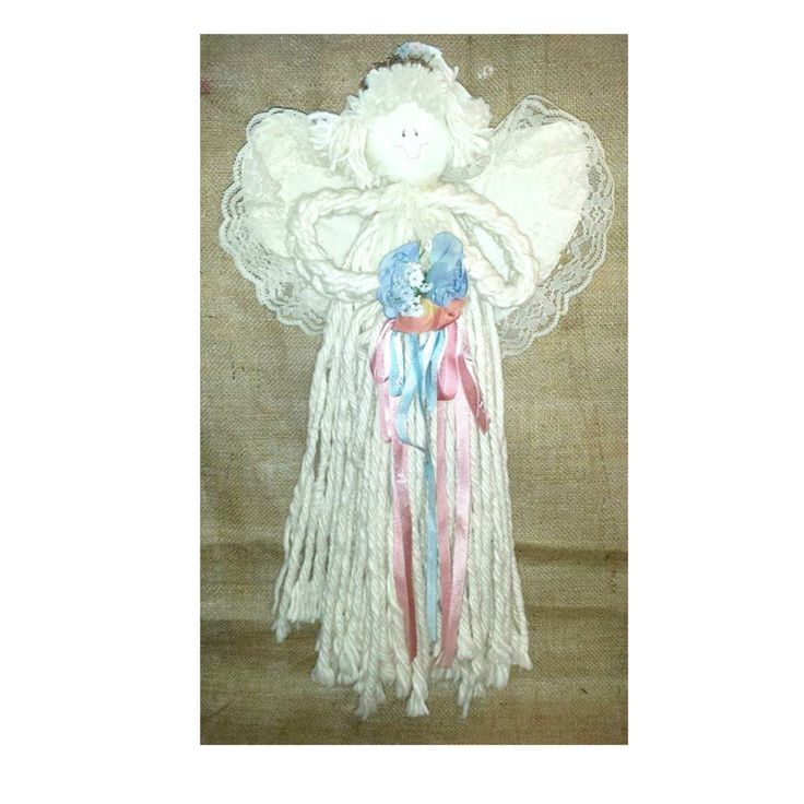 Vintage Folk Art Mop Head Angel,LARGE, Blue, Mauve, Ribbons,Floral, Mop Doll, Bride Mop Doll, Folk Art, Shabby, Country,1970s by JunkYardBlonde on Etsy