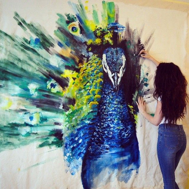 What a cool painting idea. Paint this on one of your walls! Huge Peacock oil painting by Katy Jade Dobson