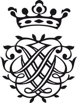 Johann Sebastian Bach, door hem zelf ontworpen monogram met spiegelbeeldig in elkaar verweven initialen van zijn naam.