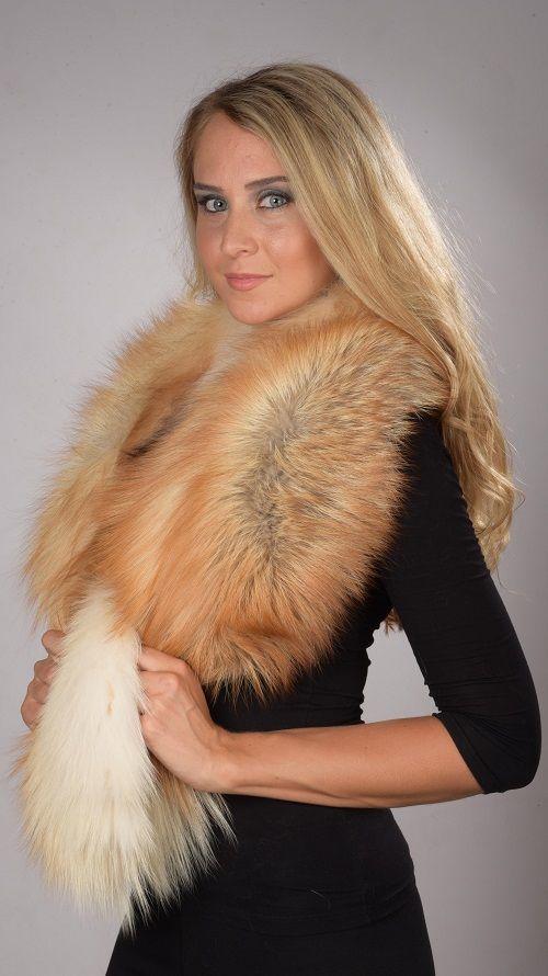 Collo in pelliccia in volpe arctic  www.amifur.it