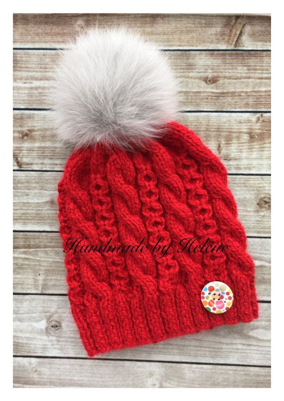 Real fur pompom hat knit winter hat large fox by BoutiqueDeHelene