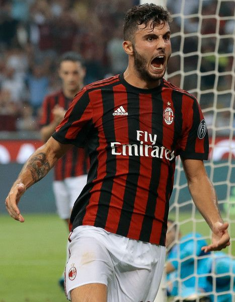 Patrick Cutrone of AC Milan celebrates his goal during the UEFA Europa League Third Qualifying Round Second Leg match between AC Milan and CSU Craiova at Stadio Giuseppe Meazza on August 3, 2017 in Milan, Italy.
