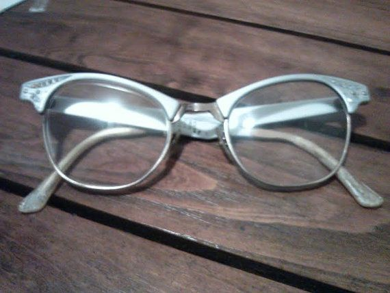 TRUE VINTAGE 1950s 1960s ArtCraft Horn-Rimmed Cat Eye Glasses with Rhinestones Eyewear Frames Mad Men Art Craft Aluminum